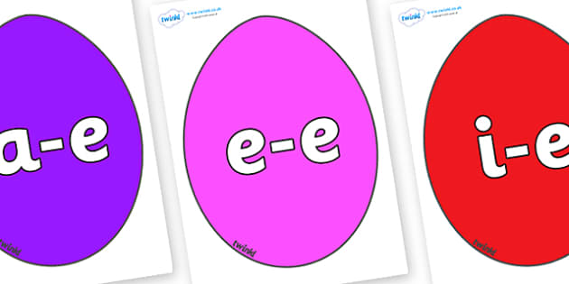 Modifying E Letters on Easter Eggs (Plain) - Modifying E, letters, modify, Phase 5, Phase five, alternative spellings for phonemes, DfES letters and Sounds