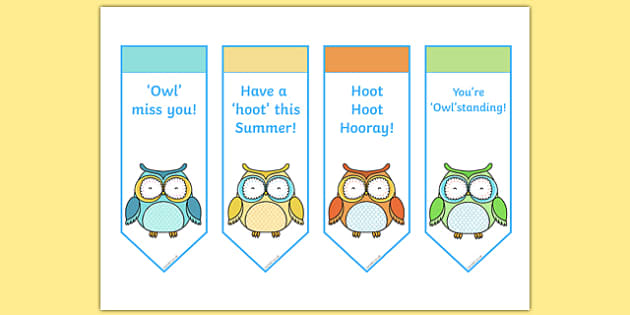 Cute Owl Themed End of Year Editable Bookmarks - cute owl, end of year, editable, bookmarks