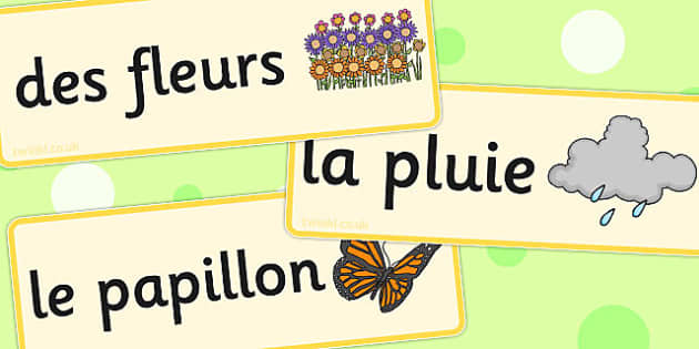French Spring Word Cards - french, spring, word cards, word, card