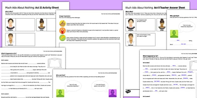 Much Ado About Nothing Act II Activity Sheet and Answers - much ado about nothing, act, activity, answers, worksheet