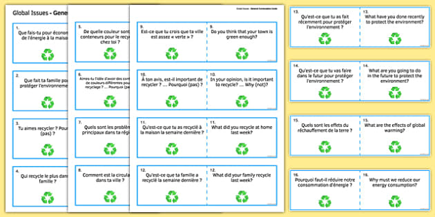 General Conversation Question Double Sided Cards French English Global Issues - french, Conversation, Speaking, Questions, Environment, Environnement, Planet, Planète, Energy, énergie, Recycling, Recyclage, Poverty, Pauvreté, Homeless, SDF, Sans-abri