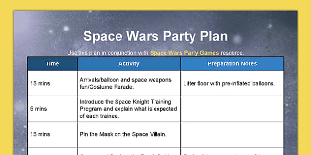 Space Wars Party Plan - star wars, party, space wars, party plan, plan