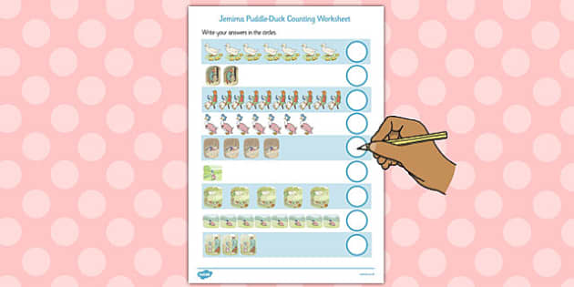 The Tale of Jemima Puddle-Duck Counting Sheet - jemima puddle-duck