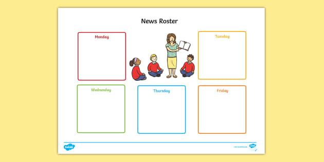 News Telling Roster  - News Telling Roster, speaking, listening, behaviour
