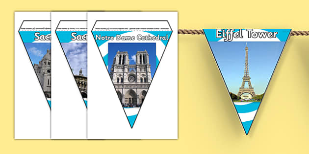 Paris Photo Display Bunting - paris bunting, france bunting, paris photo bunting, paris landmarks bunting, french landmarks, french display, paris display