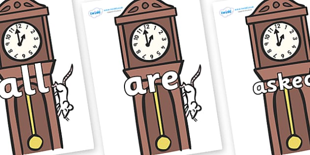 Tricky Words on Clocks - Tricky words, DfES Letters and Sounds, Letters and sounds, display, words