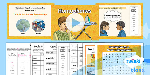 PlanIt Y4 Term 1A W5: Homophones and Near Homophones Spelling Pack