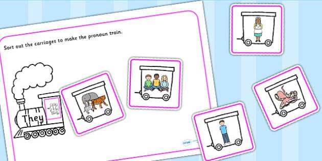 Add Noun To The Pronoun Train Sorting Activity - nouns, pronouns