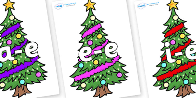 Modifying E Letters on Christmas Trees (Decorated) - Modifying E, letters, modify, Phase 5, Phase five, alternative spellings for phonemes, DfES letters and Sounds