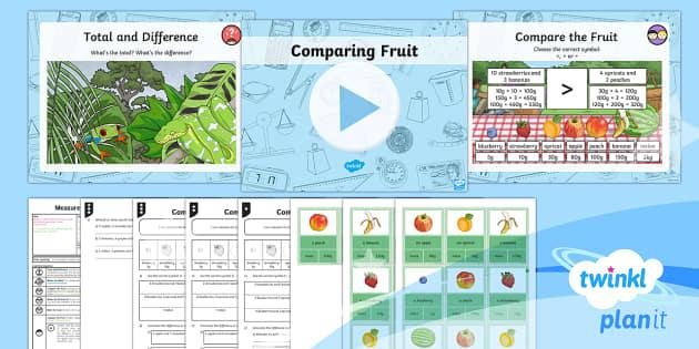 PlanIt Y3 Measurement Lesson Pack Mass (5) - Measurement, mass, grams, add, subtract, compare, total, word problems, Y3, maths, KS2, measure comp