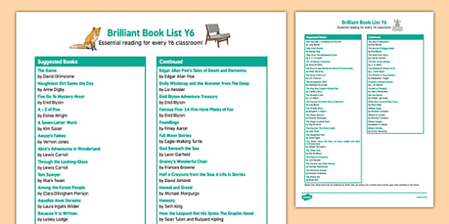 Brilliant Book List Y6