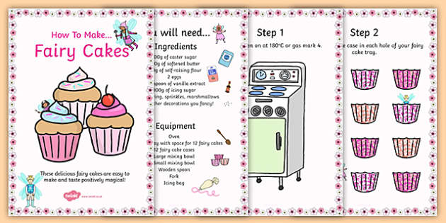 Fairy Cake Recipe Cards - fairy cake, recipe, cards, recipe cards