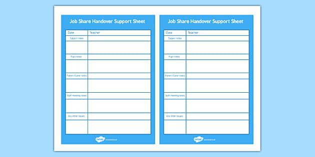 Job Share Handover Support Sheet - job-share, handover, support, sheet, job share