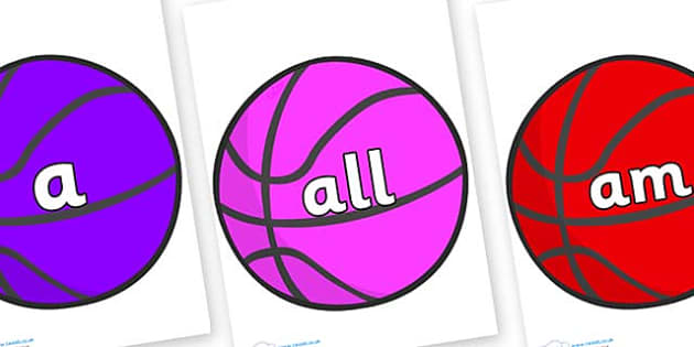 Foundation Stage 2 Keywords on Basketballs - FS2, CLL, keywords, Communication language and literacy,  Display, Key words, high frequency words, foundation stage literacy, DfES Letters and Sounds, Letters and Sounds, spelling