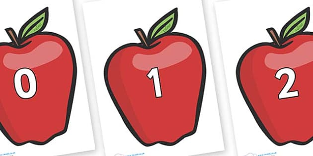 Numbers 0-31 on Red Apples - 0-31, foundation stage numeracy, Number recognition, Number flashcards, counting, number frieze, Display numbers, number posters