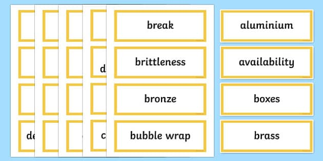Package It Better Word Wall Display Cards - australia, Australian Curriculum, Package It Better, science, Year 4, word wall, display
