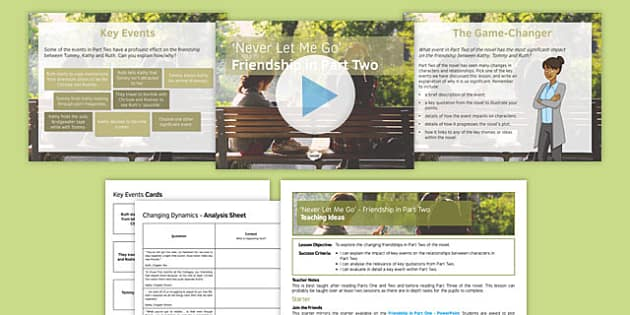 Never Let Me Go Lesson Pack 4 Friendship in Part 2 - Kathy, Tommy, Ruth, Chrissie, Rodney, Friendships, Relationships