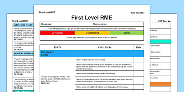 RME CfE First Level Tracker - CfE, planning, Christianity, world religions, beliefs, I can, First Level