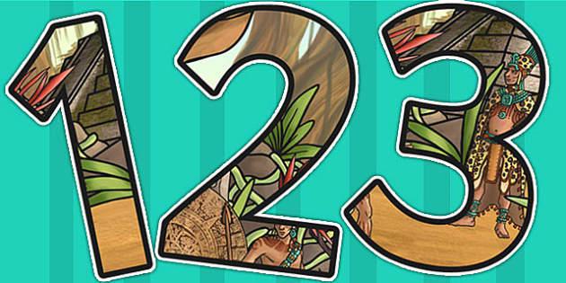 Ancient Mayans Themed A4 Display Numbers - mayan, mayan display