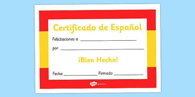 Spanish Award Certificate Spanish Award Certificate Spanish