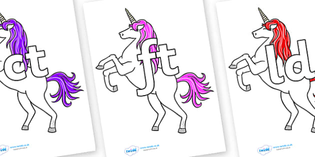 Final Letter Blends on Unicorn - Final Letters, final letter, letter blend, letter blends, consonant, consonants, digraph, trigraph, literacy, alphabet, letters, foundation stage literacy