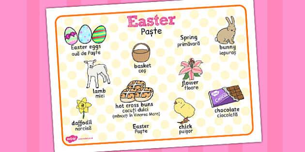 Easter Word Mat Romanian Translation - Romanian, easter, word