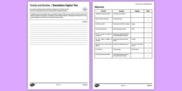 La famille & les études - Traduction Higher Tier - french, Family, school, education, studies, translation, traduction, famille, études, école, éducation
