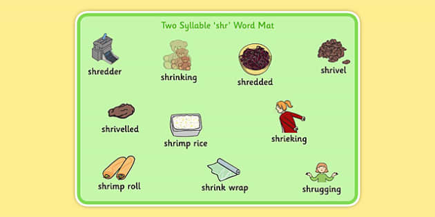 Two Syllable SHR Word Mat - speech sounds, phonology, articulation, speech therapy, cluster reduction
