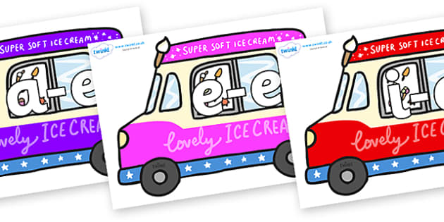Modifying E Letters on Ice Cream Vans - Modifying E, letters, modify, Phase 5, Phase five, alternative spellings for phonemes, DfES letters and Sounds