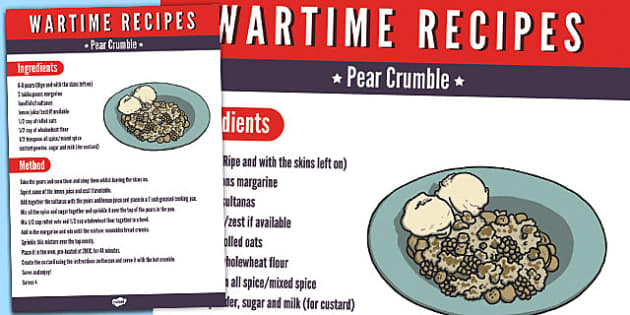 Wartime Pear Crumble Recipe - wartime, recipe, pear crumble