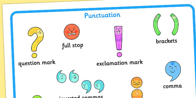 Punctuation Mat - punctuation, mat, writing, reading, visual aid