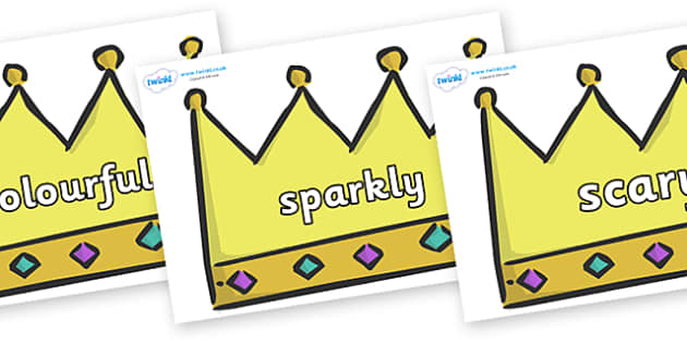 Wow Words on Crowns (Plain) - Wow words, adjectives, VCOP, describing, Wow, display, poster, wow display, tasty, scary, ugly, beautiful, colourful sharp, bouncy