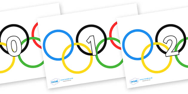 Numbers 0-50 on Olympic Rings - 0-50, foundation stage numeracy, Number recognition, Number flashcards, counting, number frieze, Display numbers, number posters