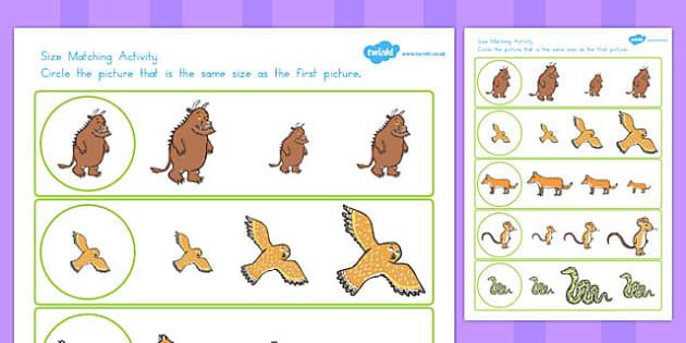 The Gruffalo Themed Size Matching Worksheet - australia, gruffalo