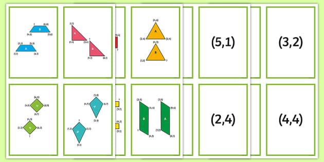 2D Shape Coordinate Translation Matching Cards - Position and Direction, coordinates, translation