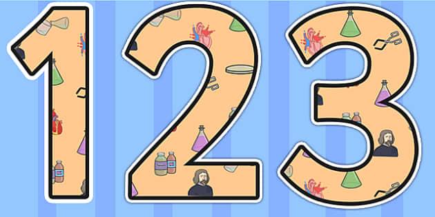 William Harvey Themed Display Numbers - william harvey, display numbers, themed numbers, classroom numbers, numbers for display, numbers, classroom display
