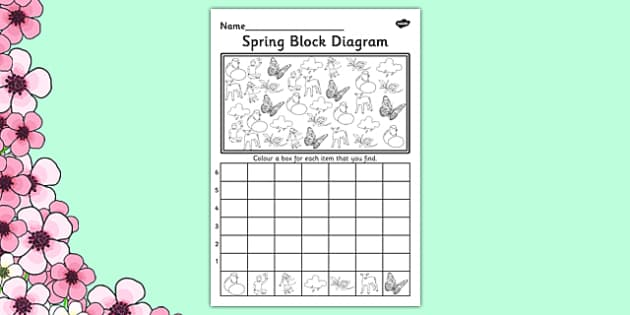 Spring Block Diagram Activity Sheet - graphs, record, activities, worksheet