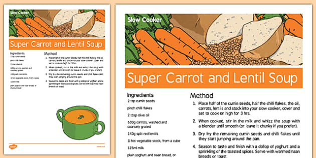 Slow Cooker Super Carrot and Lentil Soup -  cooking, meals, wellbeing, health, pastoral, support, recipe, make, food, dinner