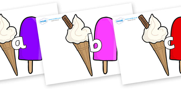 Phase 2 Phonemes on Ice Cream and Lollies - Phonemes, phoneme, Phase 2, Phase two, Foundation, Literacy, Letters and Sounds, DfES, display