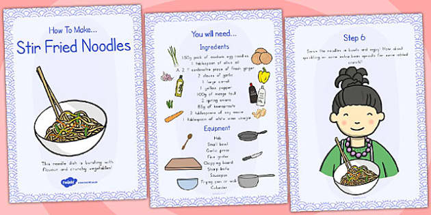 Stir Fried Noodles Recipe Cards - australia, recipe, cards, stir