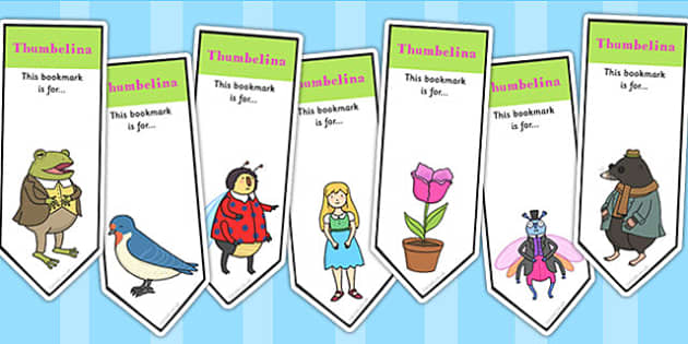 Thumbelina Editable Bookmarks - stories, reading, read, books