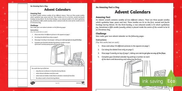 Amazing Fact a Day KS2 Countdown to Christmas Day 1 Make an Advent Calendar Activity Sheet - Amazing Fact Of The Day, activity sheets, powerpoint, starter, morning activity, December, Christmas