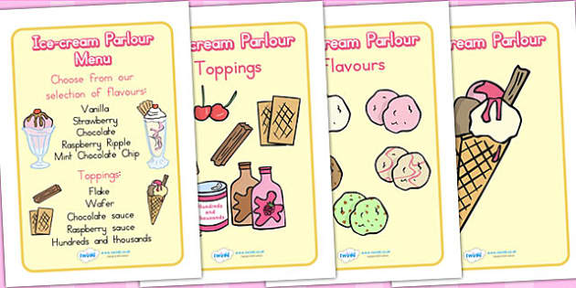 Ice Cream Parlour Role Play Display Posters - ice cream, role play