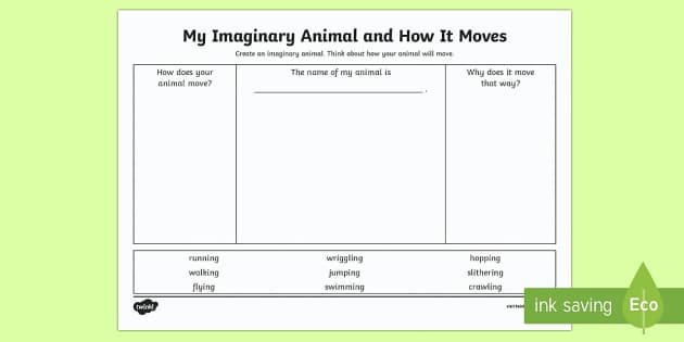 My Imaginary Animal and How It Moves Activity Sheet - Australian Curriculum, biological sciences, physical science, animal movement, movement,Australia, W