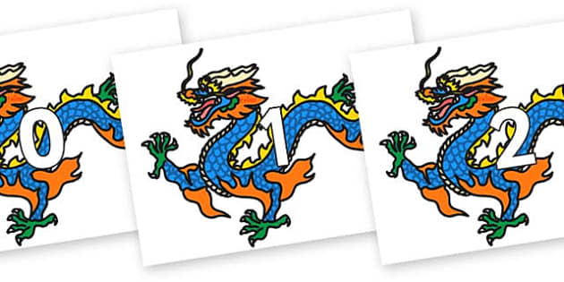 Numbers 0-31 on Chinese Dragons - 0-31, foundation stage numeracy, Number recognition, Number flashcards, counting, number frieze, Display numbers, number posters