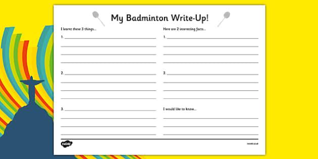 Rio 2016 Olympics Badminton Write Up Worksheets - rio 2016, rio olympics, 2016 olympics, badminton, write up, worksheet