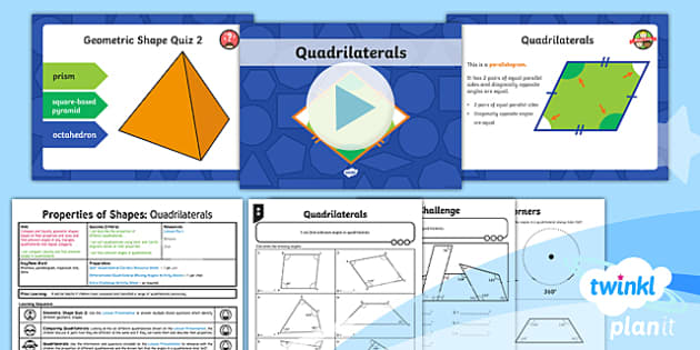 PlanIt Y6 Properties of Shape Geometric Shapes Lesson Pack (2): Quadrilaterals - Properties of Shape, 2D shapes, compare shapes, classify shapes, geometric shapes, unknown angles, m