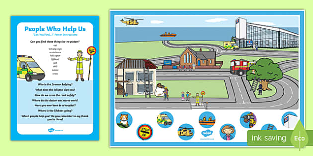 People Who Help Us Can You Find...? Poster and Prompt Card Pack