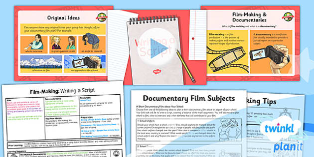 PlanIt - Computing Year 6 - Film-Making Lesson 1: Writing a Script Lesson Pack - movies, documentary, filming, video, camera, movie maker, digital devices
