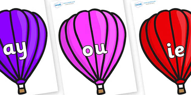 Phase 5 Phonemes on Hot Air Balloons (Plain) - Phonemes, phoneme, Phase 5, Phase five, Foundation, Literacy, Letters and Sounds, DfES, display